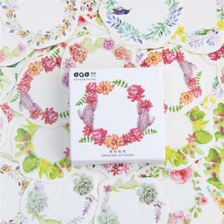 Mini flower wreath paper sticker