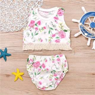 Instock - 2pc boho floral set, baby infant toddler girl children glad cute 123456789 lalalala