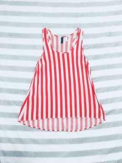H & M Divide orange striped top