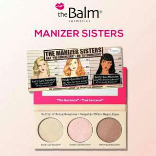 The balm manizer sisters contour , highlighter and blush palette