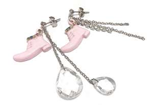 Korea✈️韓國進口 興緻造型粉紅小靴子👢水晶鍊條多元素 耳環 特價