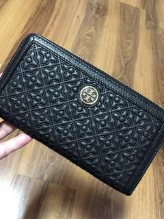 Authentic Tory Burch - Women's Long Wallet (Black) Fleming Series