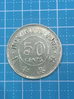 Hong Kong King Edward VII Silver+copper 50 Cents Year 1905
