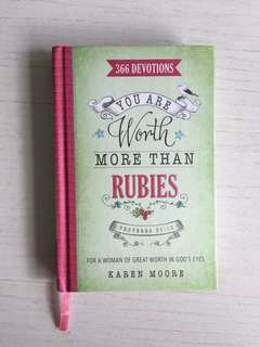 You are worth more than rubies - 366 devotions By Karen moore Christian book