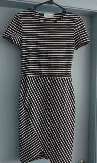 Zara navy and white striped dress