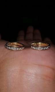 14k half eternity Hongkong setting real Diamond earrings