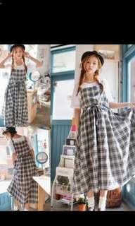 (9成新) 可愛格子吊帶裙