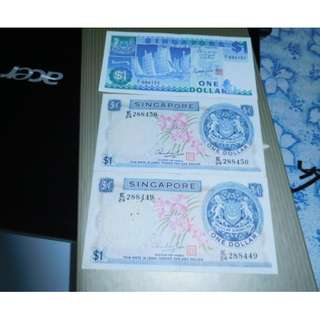 Z1 Replacement $1.00 Ship Series $1.00 note and 2 Pieces of orchid series $1.00 with running number