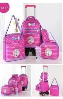 Trolley bag 5in1 set 1750 With sling bag  With Lunch bag  With pencil case  With water bottle  Size:18x13 inches bag pack  High quality