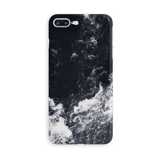 White Waves Crashing on Black iPhone case