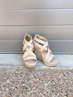 Beige Strapped Wedges