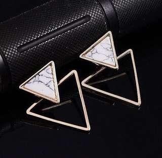 幾何三角形大理石耳環