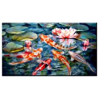 School of Koi Fishes Oil Painting