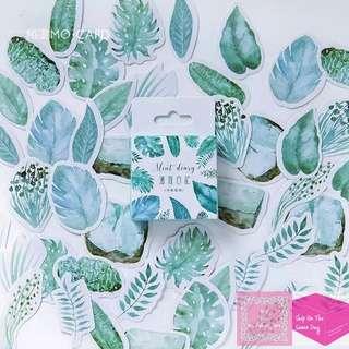 45 PCS/box Mint Diary House Plant Leaves Sticker Pack