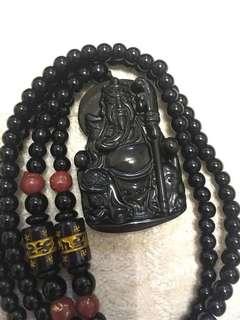 Black obsidian guan gong/guan Yu pendant(黑曜石水晶关公/关羽项链)