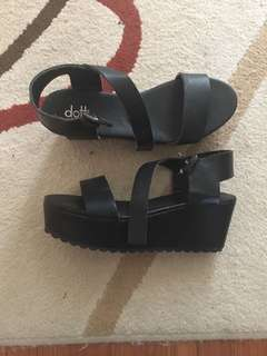Dotti black platform sandals