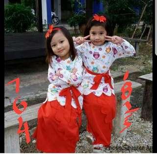 Qwl baju kurung with headband kid raya