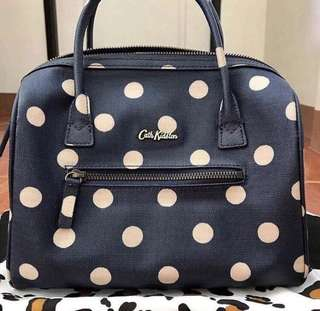 💯% Guaranteed Authentic Cath Kidston Button spot mini embossed bowler bag in navy,