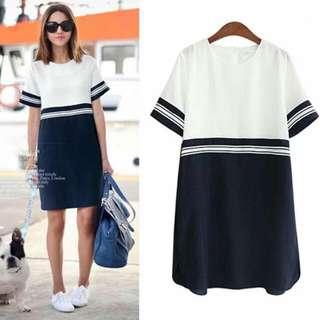 🍃Stripe Cord Combined Dress
