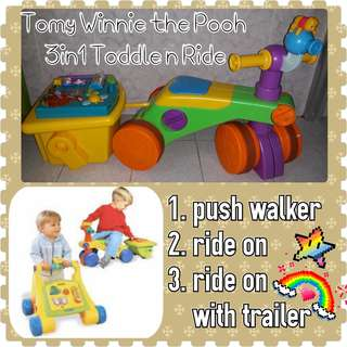 Tomy 3in1 Toddle & Ride On Walker Wagon