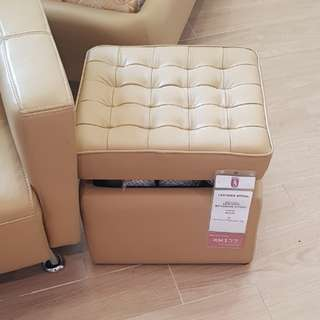 Italian Mastrotto Leather Ottoman Stool