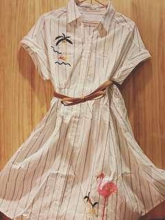 日系可愛春夏連身襯衫洋
