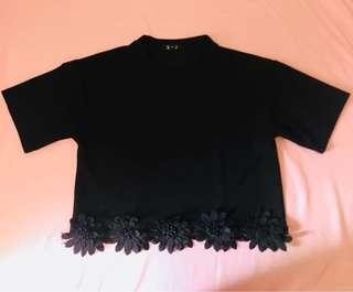 Black Semi Crop Top