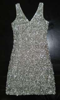 V-neck silver sequin cocktail dress