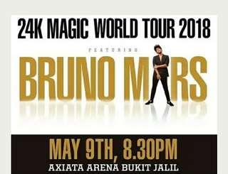2 CATEGORY 1 Bruno Mars Ticket (Malaysia 9 May 2018)