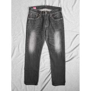 30腰 Edwin 505 愛德恩 黑色水洗刷紋 赤耳布邊 經典直筒 牛仔褲 二手 長褲 休閒褲 工作褲