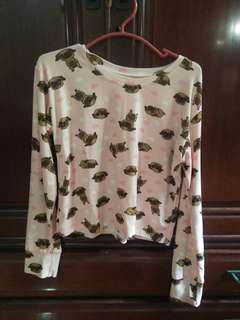 Pug Crop Top Long Sleeves