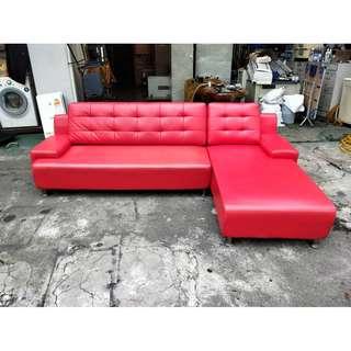 東鼎二手家具 艷紅8尺 L型沙發椅*客廳沙發*皮沙發*洽談沙發*辦公沙發*二手沙發*2手沙發*L型沙發