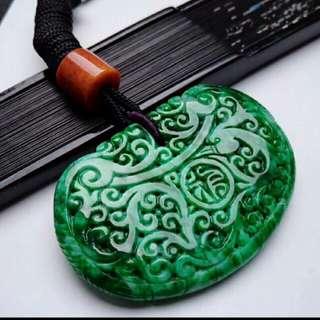 🍍Grade A 水润 Spicy Green 福气满满 Full Of Blessings Jadeite Jade Pendant/Display🍍
