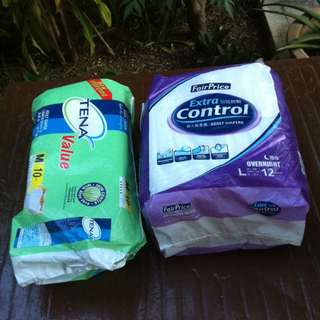 Adult diapers. Tena Size Mwith 6 pieces and Fairprice Extra Control Size Large with 8 pieces.