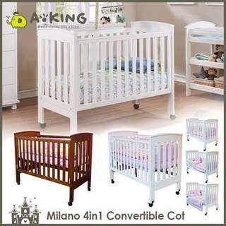 Baby Cot Milano 4 in 1 White Color Crib