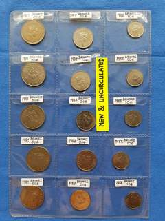 BRUNEI Brand new and uncirculated coins.   5 SETS of 50 cents, 20 cents and 10 cents.