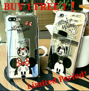 Mirror Mickey Minnie Phone Case with Ring Finger Holder