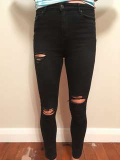 Women's Black Ripped Glassons jeans size 8