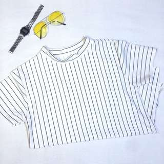 Longneck shirt with slit stripes black and white