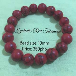 Gemstones Bracelets - Red turquoise (synthetic)