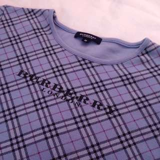 Burberry T-shirt Blue Check Print Top Women M