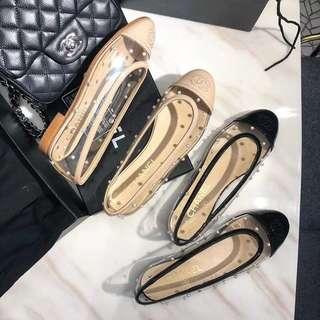Chanel 珍珠 鏤空 平底鞋