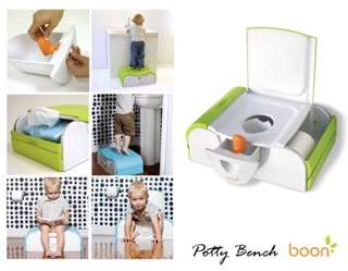 Boon Potty Bench Training Toilet with Side Storage - Green