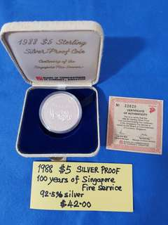 1988 $5 SILVER PROOF COIN.   100 years of Singapore Fire Service.   92.5 % Silver content.
