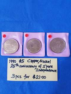 1990 $5 COPPER / NICKEL COINS.   25th Anniversary of Singapore INDEPENDENCE.