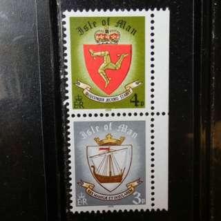 [lapyip1230] 英屬曼島 1979年 皇室徽紋 連印票一對 MNH
