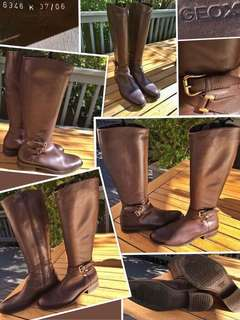 """""""GEOX""""LIKE NEW Stunning all leather riding boots in dark chocolate brown with pale gold buckles in size 37(fits 7-71/2)(fits a narrow foot )"""