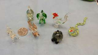 古董 十二生肖 雞、蛇、兔、鼠、狗、豬、馬 玻璃小擺件(see settlement location frist)