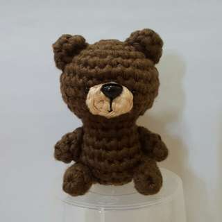 Bear Crochet - Japanese Amigurumi Bear - Brown Bear Plush Toy with Silver Keyring and Lobster Clasp