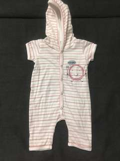 EUC Hush Hush Short Sleeve Hooded Romper